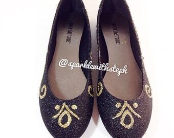 Princess Anna Boots- Princess Anna- Anna Boots- Glitter Ballet Flats- Women Flats