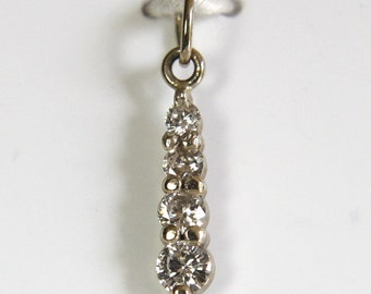 Diamond Necklace Pendant 14k White Gold .17 Carats Total Weight