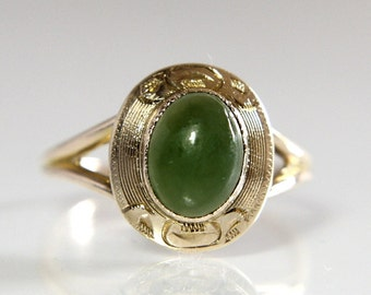 Vintage Jade Ring 10K Yellow Gold Size 6.5 With Green Nephrite