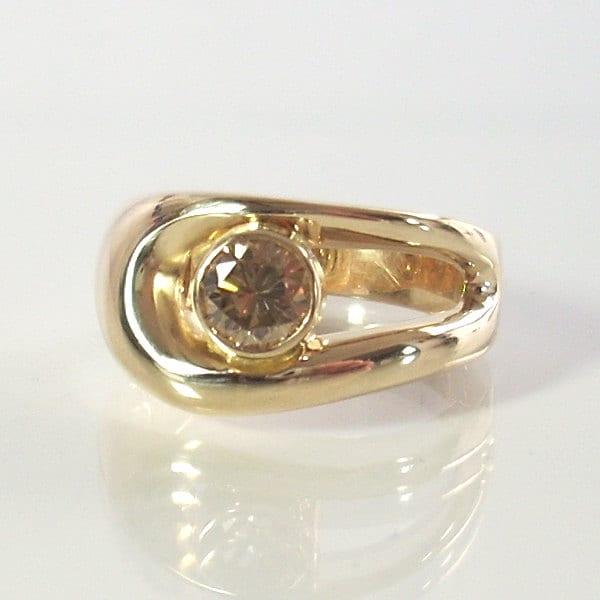 Champagne Diamond Engagement Ring 14 Karat Yellow Gold Size