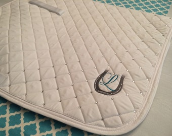 Hand set crystal embellished dressage saddle pad made to order (2 sided)