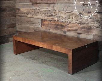 Vintage Mid Century Patrician Wood Extendable Living Room Coffee Table
