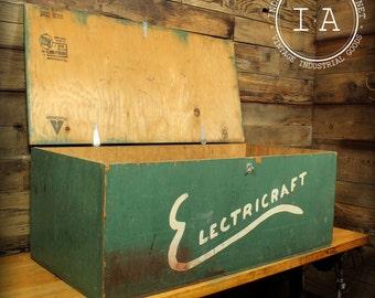 Vintage Industrial Electricraft Crate Trunk Foot Locker Folk Art Handmade
