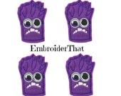 UNCUT Purple naughty monster applique embellishments hair bow center felties (4)