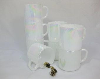Milk Glass Coffee Mugs, Federal Glass Moon Glow Mugs, 8 pcs