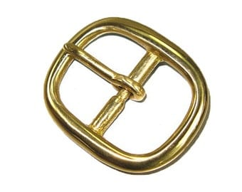 "Center Bar Buckle 3/4"" (1.8 cm) Solid Brass Hand Polished"