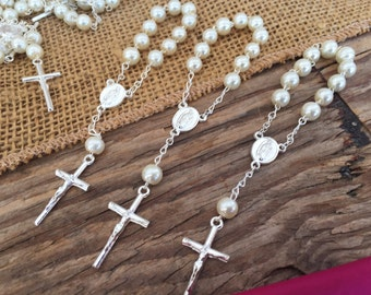 40 baptism favors/ off white  crystal pearls silver plated / baptism favor/ mini rosary/ recuerditos para bautizo/ christening favors