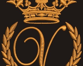 """Crown, laurel wreath and the monogram letter """"V"""" - Machine embroidery design,   design tested."""