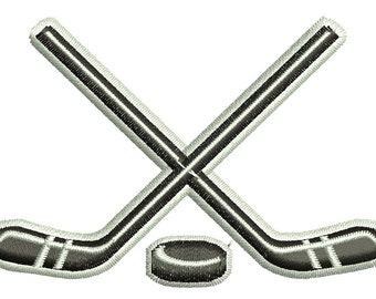 hockey stick and puck  - Machine Embroidery Design