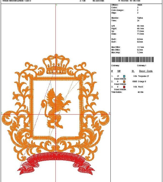 Crown Coat Of Arms Lion In Three Sizes Applique