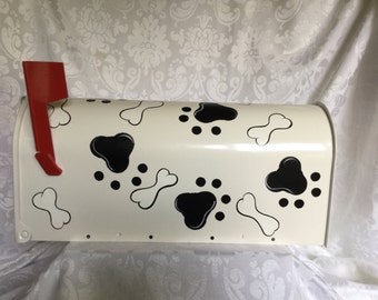 Dog Paws and Bones Hand Painted Mailbox