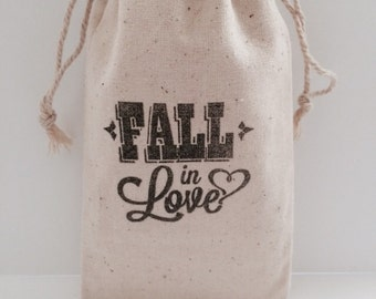 Fall In Love 3x5 Muslin Wedding Favor Bags, Set of 25