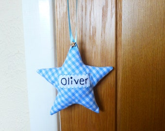 Personalised Boys Hanging Star Decoration