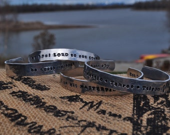 Customizable hand stamped and hammered aluminum cuff