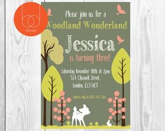 Woodland Bambi themed Birthday Invitation