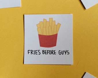 """Fries Before Guys Set of 3 Square Vinyl Stickers 2"""" x 2"""""""