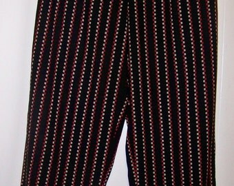 Vintage 90's Pants In Black With Red And Tan Patterned Stripes - Size Large - Red Dirt Girl - 184