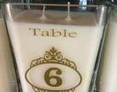 Wedding Table Number Marker, wedding reception centerpiece candle, table decor