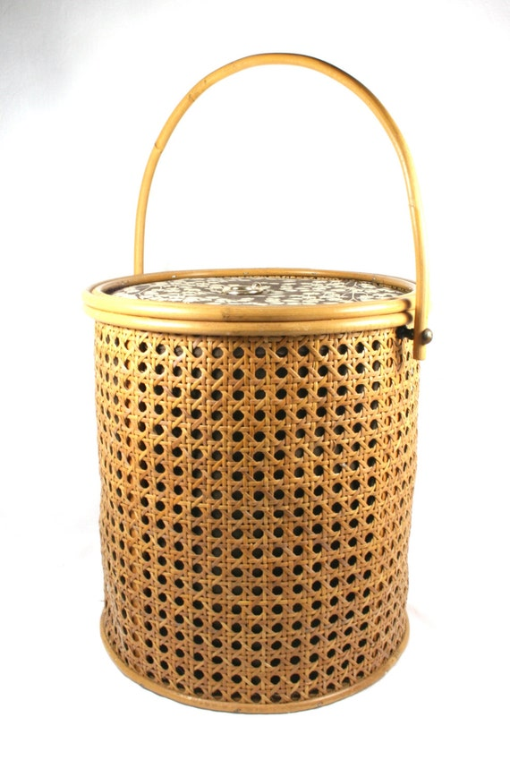 Tall wicker sewing basket with lid retro round cane sewing box - Round wicker hamper with lid ...
