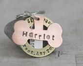 The Harriet Model 3 piece personalized dog tag or key chain keychain key fob Item A-75