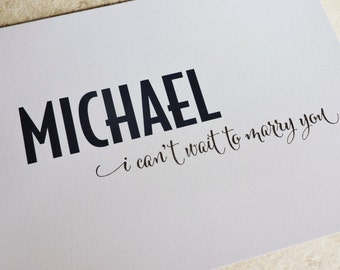 Wedding Card To My Bride or Groom On Wedding Day - I Can't Wait To Marry You Modern Bold Notecard
