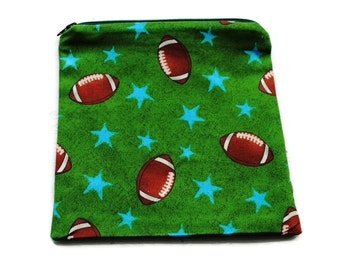 Reusable Sandwich Bag  Zipper Bags Green Football