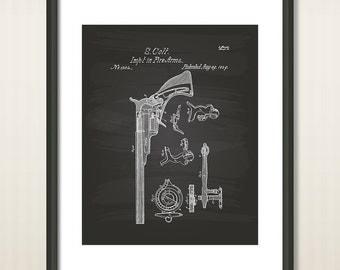 Colt Pistol 1839 Patent Art Illustration - Drawing - Printable INSTANT DOWNLOAD - Get 5 colors background