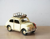 Vintage, Fiat car miniature with Italian colours, retro collectible miniature, white Fiat 500, early nineties