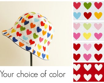 Girls heart hat, toddler girls valentine's gift sun hat, baby girls heart gift summer hat, sisters hat, twin baby girl gift - made to order