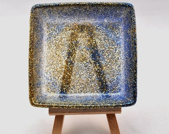 Square Resin Trinket Bowl - Blue and Gold