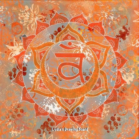 Sacral Chakra, Yoga Artwork, Chakra, Mandala Wall Art, Mixed Media Collage Art, Meditation Art, Yoga, Mandala Decor, Wall Art, Boho Decor