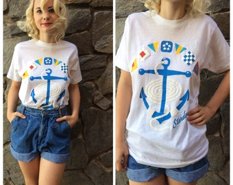 """Vintage """" Stardancer """" graphic Tee with anchor / rope graphic"""