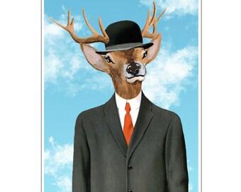 Deer Print,  Antler, Stag, Deer Art, Deer Art Print, Deer Artwork, Wall Decor, Wall Art, Deer Wall Hanging, Blue, Stag Head, Deer Antler,Hat