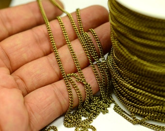 33 ft. 10 Meter Antique Brass 2.5x2.5 mm Oval Chain