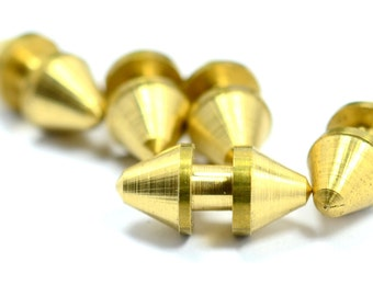 5 Pieces Raw Brass Industrial 15x7 mm  Spike Barbell Findings
