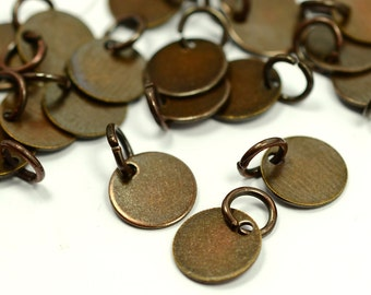 "50 Pieces  Antique Copper  8 mm (5/16"" ) Round Disc with Jump Ring Attached Charms Findings"