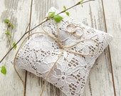 White wedding rustic ring pillow, burlap and lace bearer pillow