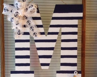 Stripes/Hand painted Initial/Monogram with Anchor