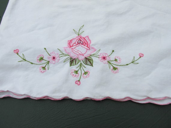 Vintage Pink Floral Pillowcase Shabby Chic French Country