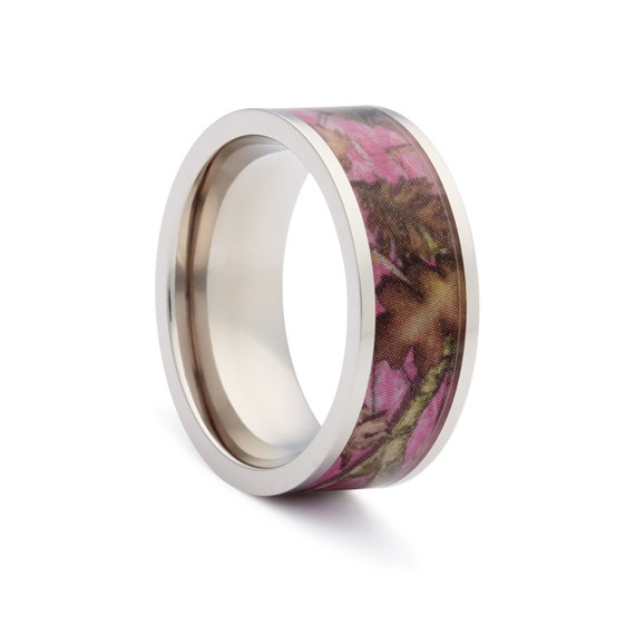 Pink Camo Wedding Rings: Pink Camo Wedding Rings By ONE CAMO Pink Camo Flat Titanium