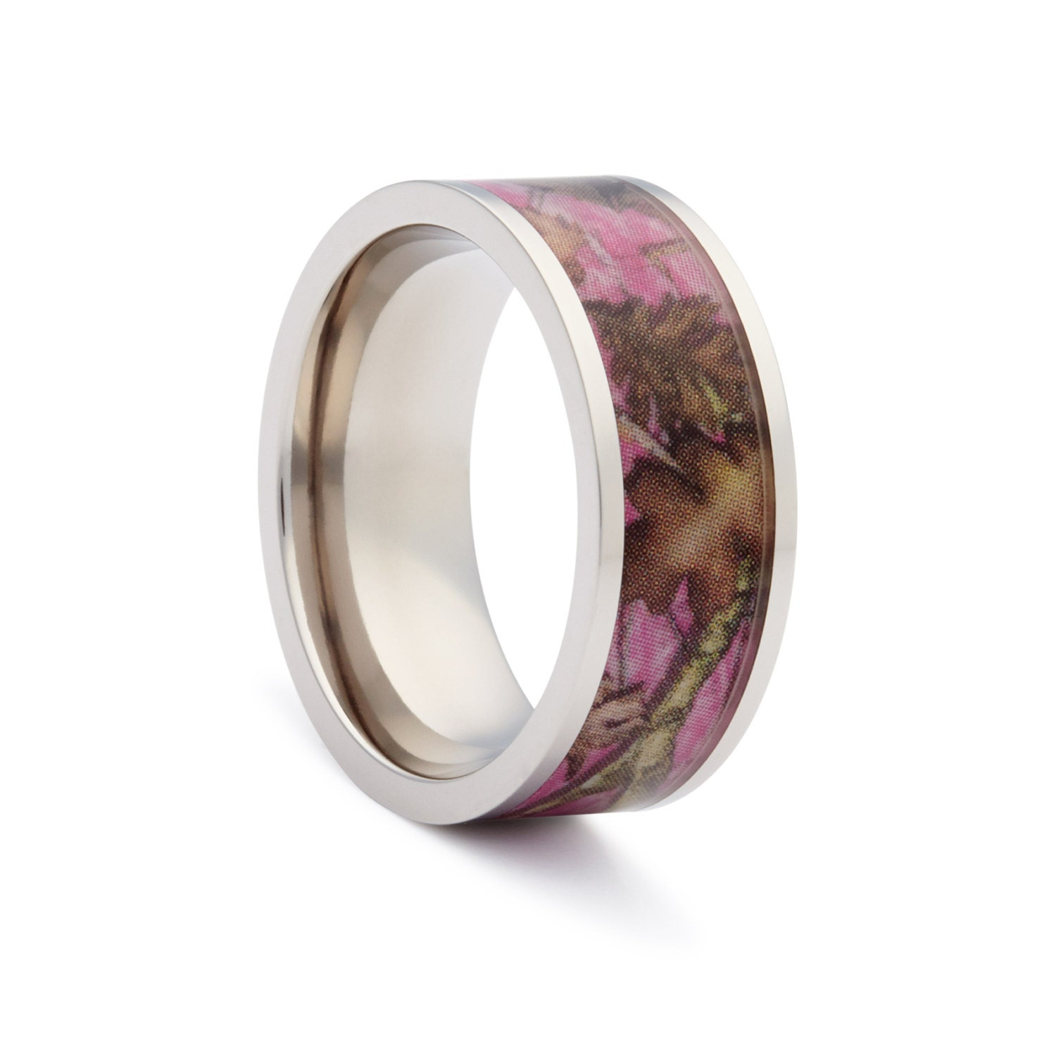 Pink camo wedding rings by one camo pink camo flat titanium for Camoflauge wedding rings