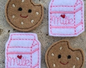 Milk and Cookies Feltie - DIY Hair Clips (4) - Food Foodie Applique -  Pink Milk and Cookies Felt Embroidery Stitchies