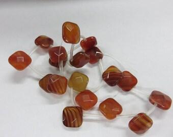 Natural Carnelian Faceted Flat Cusshion Teardrop Beads - Carnelian Beads