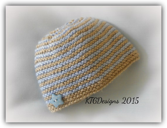 Toddler Beanie Knitting Pattern : DK Knitting pattern to knit baby beanie hat by KTGKnittingDesigns