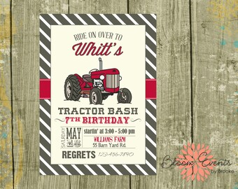 Red Tractor Bash Birthday Invitation - Stripes - Vintage Tractor - Digital Invitation