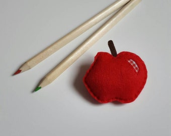 Handmade felt teacher apple brooch /badge