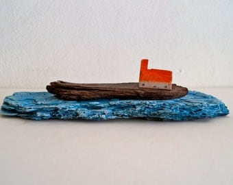 tiny House on a cliff on Blue water, Original Mixed Media Art, Rustic home decor, Little Wooden Houses