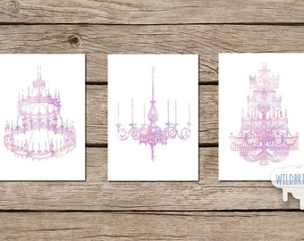 3 piece Printable Wall Art set, 5x7 chandelier theme watercolor vintage style, antique pink purple gold: INSTANT DOWNLOAD