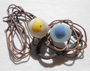Rare sea glass marbles, white yellow and blue beach glass marbles, grecian shore finds