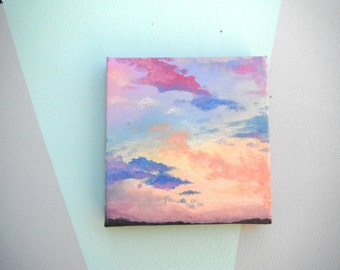 Multicolored Clouds Sunset Original Acrylic Painting